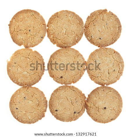 oat cookies biscuits on white background
