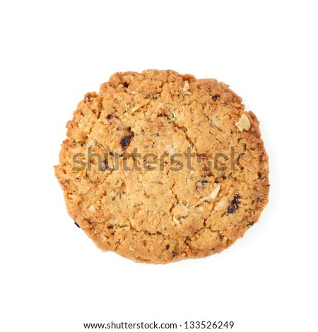 oat cookies biscuits on white background - stock photo