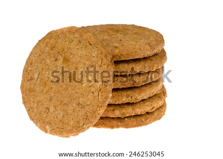 Oat cookies isolated. - stock photo