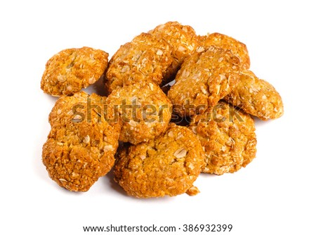 Oat cookies. Isolated on white