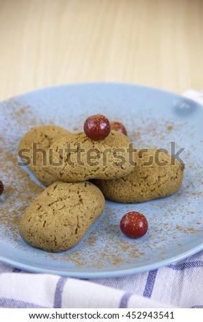 oat cookies oatmeal baked tasty breakfast. diet biscuit crunchy eating food - stock photo