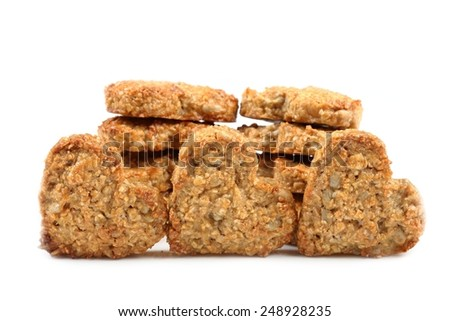 Oat cookies with the addition of sesame and sunflower. - stock photo