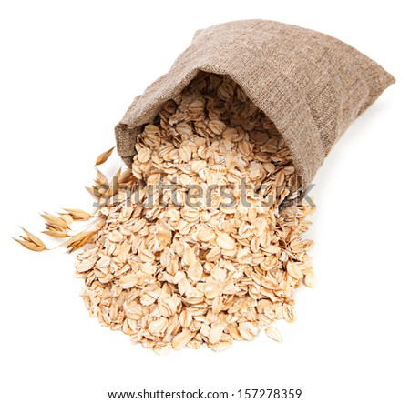Oat flake isolated on white background - stock photo