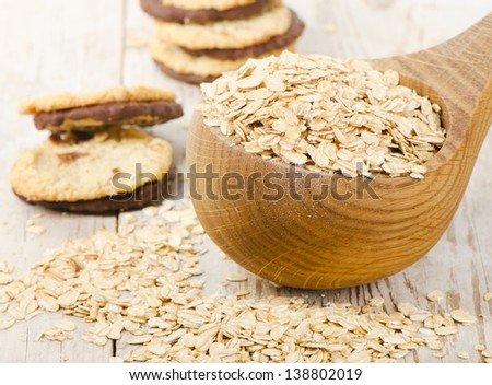 Oat flakes and cookies. Selective focus