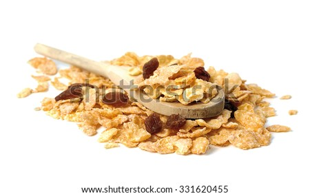 Oat flakes in the wooden spoon on white background. - stock photo
