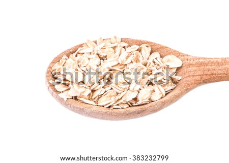 oat flakes isolated on white background, healthy food