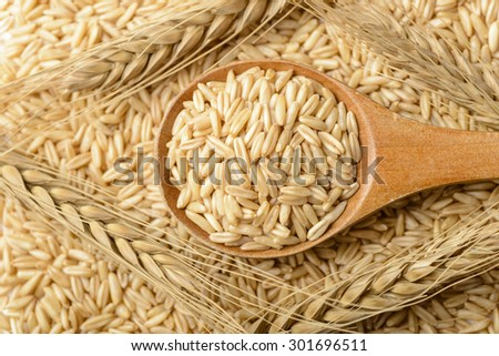 oat in the wooden spoon, top view