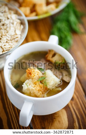 oat soup with croutons