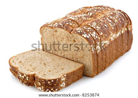 Oat topped whole grain bread. - stock photo