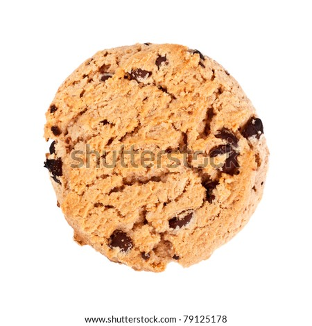 oatmeal chocolate chip cookies, isolated on white - stock photo
