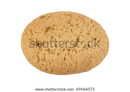 Oatmeal cookie. Isolated on the white background.