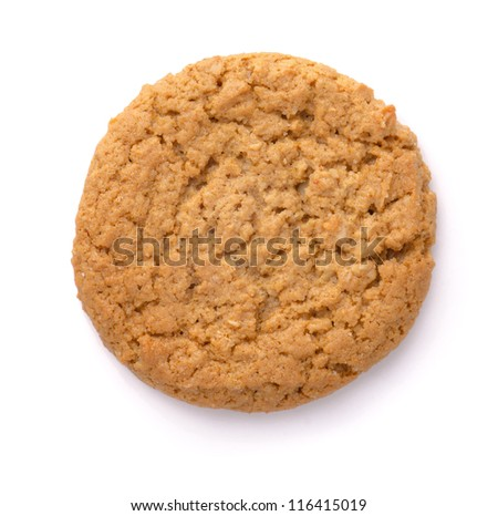 Oatmeal cookie isolated on white. Top view. - stock photo