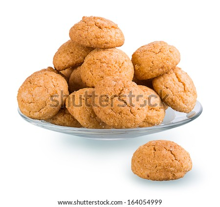 Oatmeal cookies isolated on the ground glass with clipping paths, some pictures collected together to increase the focus areas - stock photo