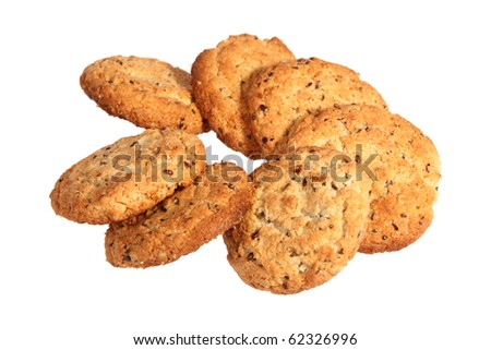Oatmeal cookies isolated over white with clipping path