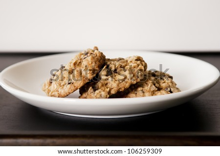 Oatmeal Cookies on a plate - stock photo