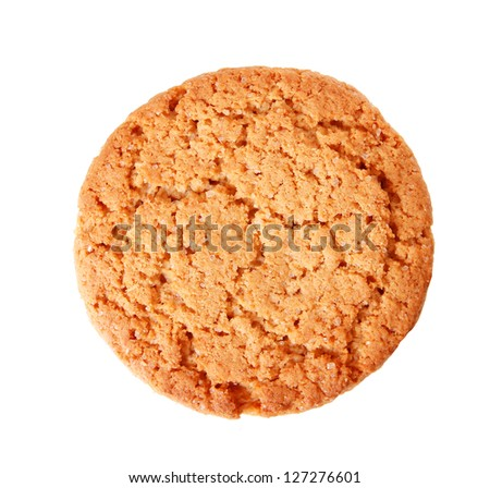 oatmeal cookies top view isolated on white background - stock photo