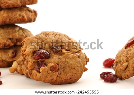 Oatmeal cookies with Cranberry, sugar-free. Ecological product. - stock photo