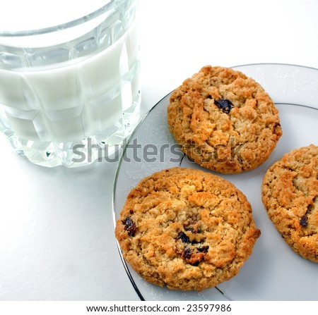 Oatmeal cookies with milk - stock photo