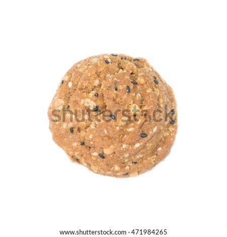 Oatmeal cookies with nuts and sesame seeds isolated on white background.