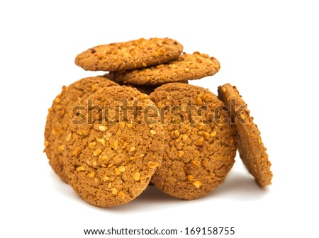 Oatmeal cookies with nuts isolated on white background