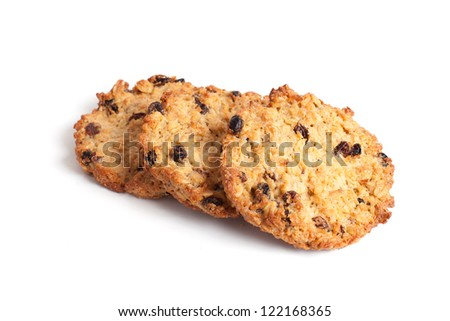 Oatmeal cookies with raisin isolated on white - stock photo