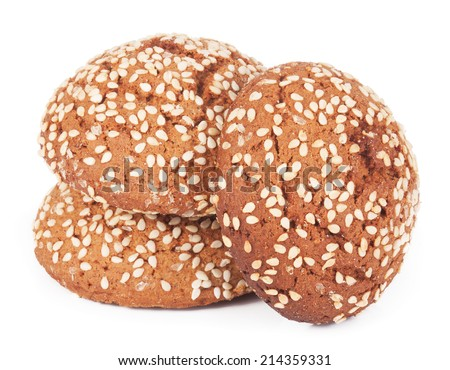 Oatmeal cookies with sesame seeds isolated on white background - stock photo