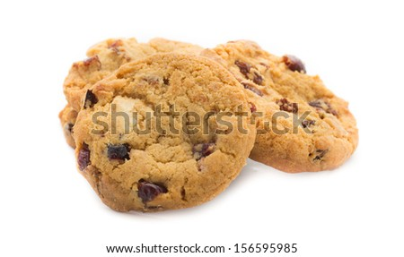 Oatmeal cookies with white chocolate and cranberries. - stock photo