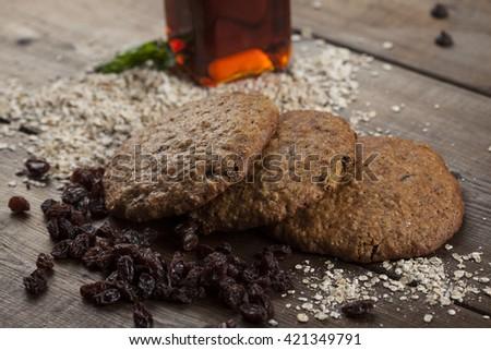 oatmeal rains cookies - stock photo