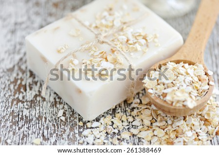 Oatmeal Soap handmade for a natural clean - stock photo