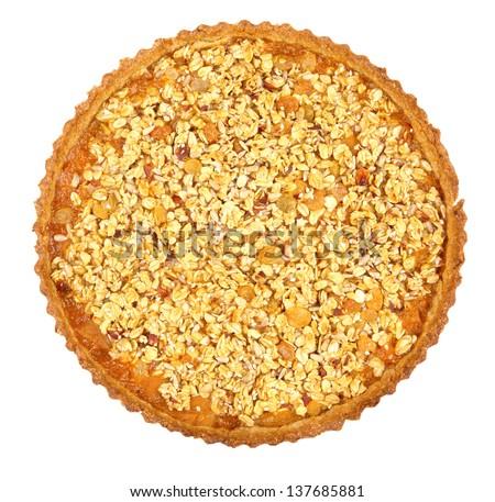 oatmeal tart isolated on white - stock photo