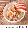 Oatmeal with apples and cinnamon in a white bowl - stock photo