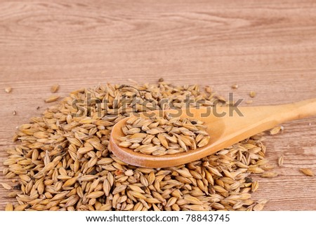 oats and spoon on brown - stock photo
