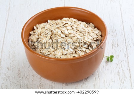 Oats in the bowl - ready for cooking