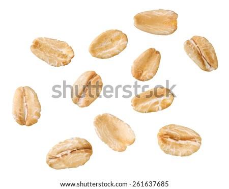 oats, oatmeal isolated - stock photo