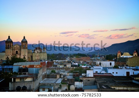 Oaxaca city view during sunset - stock photo