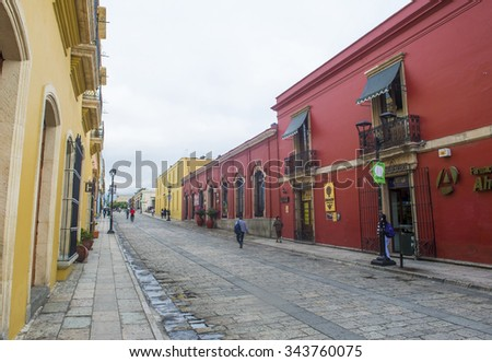 OAXACA , MEXICO - NOV 02 : Street view in Oaxaca Mexico on November 02 2015. Oaxaca, is the capital and largest city of the Mexican state of the same name. - stock photo