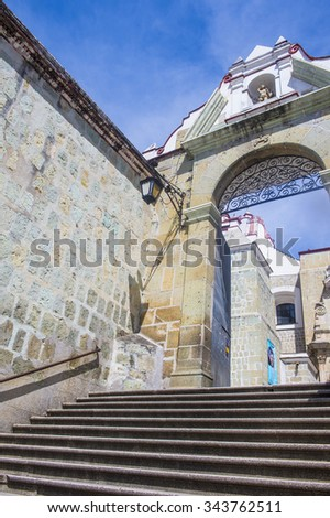 OAXACA , MEXICO - NOV 02 : The Basilica of Our Lady of Solitude in Oaxaca , Mexico on November 02 2015. The Basilica is part of the Historic Center of Oaxaca an UNESCO World Heritage Site since 1987 - stock photo