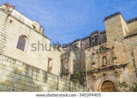 OAXACA , MEXICO - NOV 02 : The church of Santo Domingo de Guzman in Oaxaca , Mexico. on November 02 2015  the church was founded by the Dominican Order in 1570.