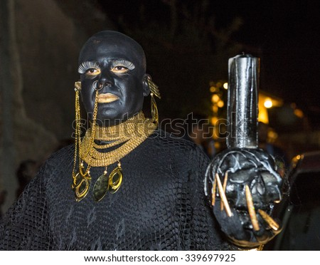OAXACA , MEXICO  - NOV 02 : Unknown participant on a carnival of the Day of the Dead in Oaxaca, Mexico, on November 02 2015. The Day of the Dead is one of the most popular holidays in Mexico - stock photo