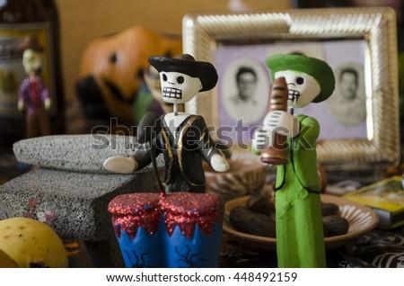 OAXACA, OAXACA, MEXICO- NOVEMBER 2, 2015: Musician skulls, part of an offering altar in Oaxaca, Mexico - stock photo