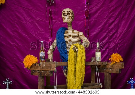 OAXACA, OAXACA, MEXICO- NOVEMBER 2, 2015: Skeleton barman, part of a day of the dead offering altar in Oaxaca, Mexico - stock photo