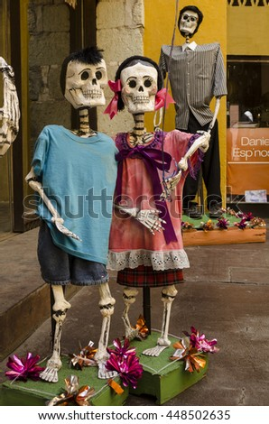 OAXACA, OAXACA, MEXICO- NOVEMBER 2, 2015: Skeleton kids. Part of the day of the dead celebration in Oaxaca, Mexico - stock photo
