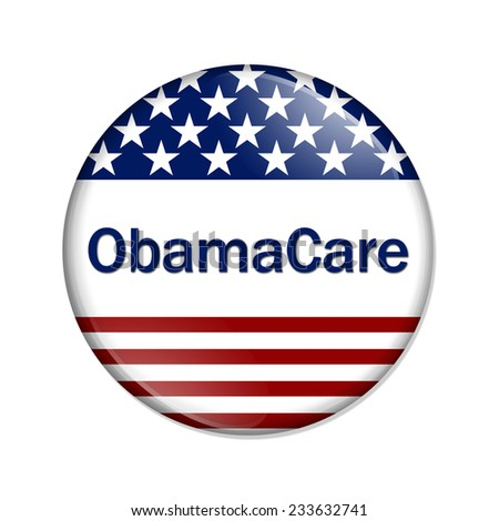 ObamaCare Button , A white button with red stripes and stars with words ObamaCare isolated on a white background - stock photo
