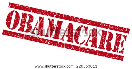 obamacare red grungy stamp on white background - stock photo