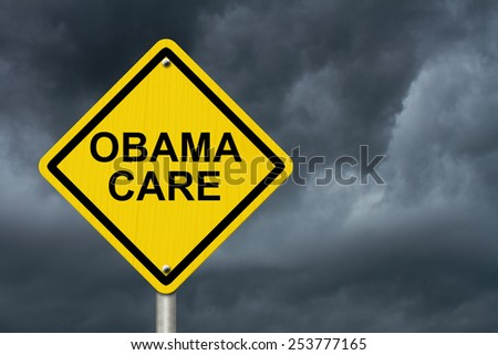 ObamaCare Warning Sign, Yellow warning road sign with word ObamaCare with stormy sky background - stock photo