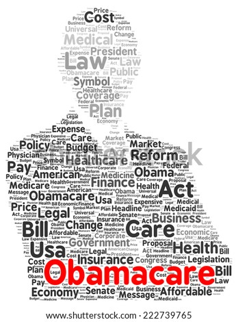 Obamacare word cloud shape concept - stock photo