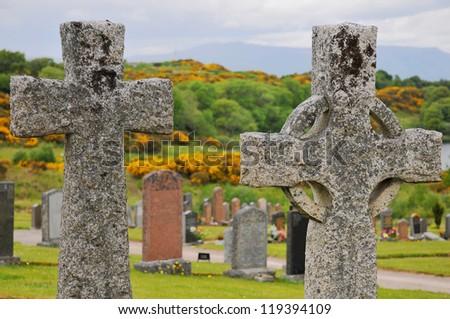 Oban cemetery, Scotland - stock photo