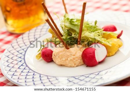 Obatzda  is a Bavarian cheese delicacy - stock photo
