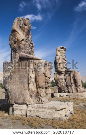 Obelisk at the Mortuary temple of Hatshepsut at Deir el-Bahari near Luxor - stock photo