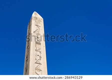 Obelisk in Hippodrome of Constantinople in Sultan Ahmet Square, Istanbul, Turkey - stock photo